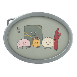 Dim Sum Pork Bao Shaomai Chinese dumpling Buns Bun Oval Belt Buckle