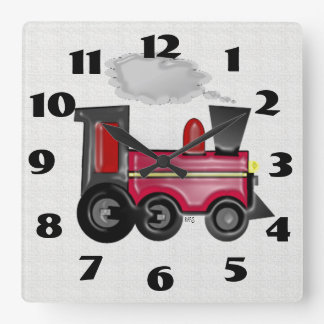 Dimensional Train Square Wall Clock