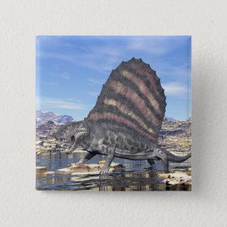 Dimetrodon in the desert - 3D render 2 Inch Square Button