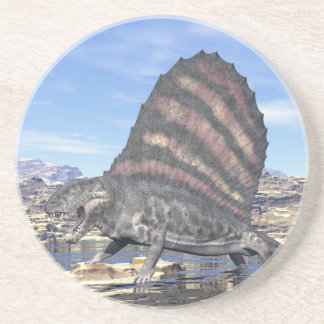 Dimetrodon in the desert - 3D render Coaster