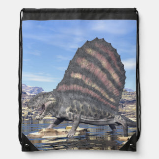 Dimetrodon in the desert - 3D render Drawstring Bag