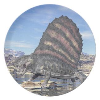 Dimetrodon in the desert - 3D render Party Plates