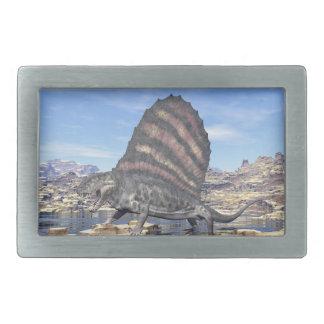 Dimetrodon standing in a pond in the desert belt buckle