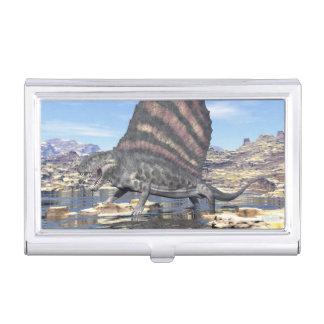Dimetrodon standing in a pond in the desert business card holder