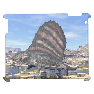 Dimetrodon standing in a pond in the desert case for the iPad