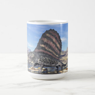 Dimetrodon standing in a pond in the desert coffee mug