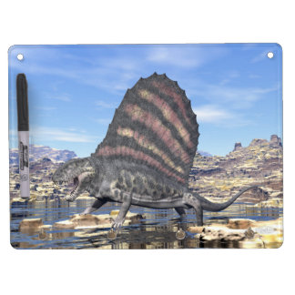 Dimetrodon standing in a pond in the desert dry erase board with keychain holder