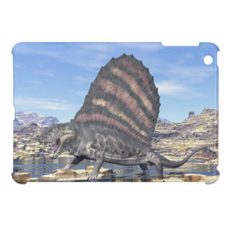 Dimetrodon standing in a pond in the desert iPad mini cover