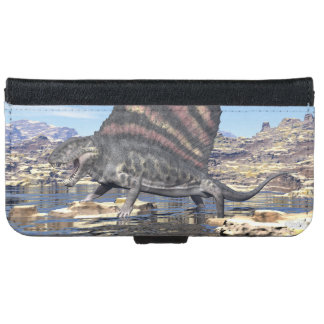 Dimetrodon standing in a pond in the desert iPhone 6 wallet case