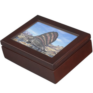 Dimetrodon standing in a pond in the desert keepsake box