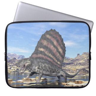 Dimetrodon standing in a pond in the desert laptop sleeve