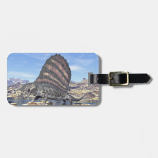Dimetrodon standing in a pond in the desert luggage tag