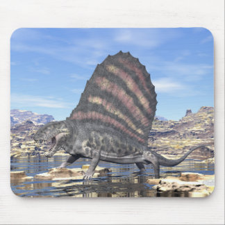 Dimetrodon standing in a pond in the desert mouse pad