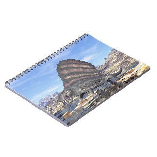 Dimetrodon standing in a pond in the desert notebooks