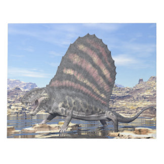 Dimetrodon standing in a pond in the desert notepad