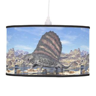 Dimetrodon standing in a pond in the desert pendant lamp