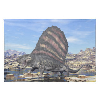 Dimetrodon standing in a pond in the desert placemat