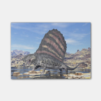 Dimetrodon standing in a pond in the desert post-it notes