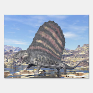 Dimetrodon standing in a pond in the desert sign