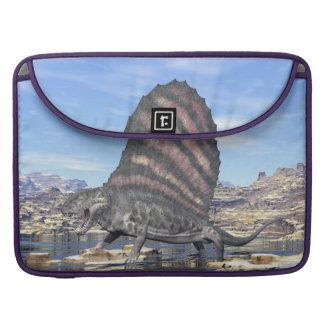 Dimetrodon standing in a pond in the desert sleeve for MacBooks