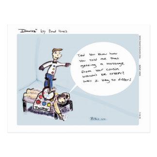 Dimwitz Unicycle Massage Postcard, by Brad Hines Postcard