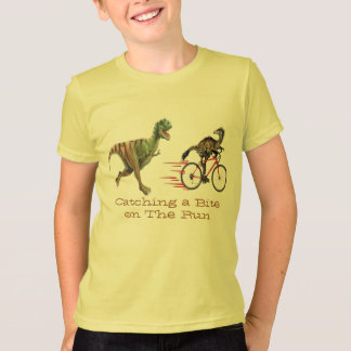dinasaurs t-rex catching a bite on the run funny T-Shirt