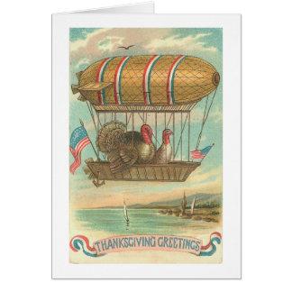 Dindes de thanksgiving dans un dirigeable souple carte de vœux