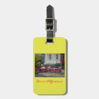Dine Alfresco Luggage purse or keychain tag