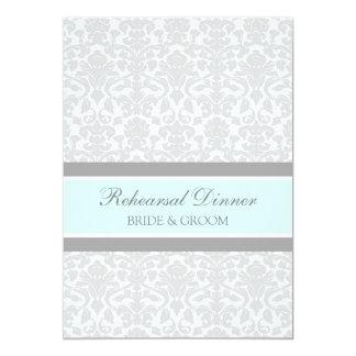 Dîner de répétition de damassé de gris bleu carton d'invitation  12,7 cm x 17,78 cm