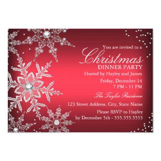 Dîner en cristal rouge de Noël de flocon de neige Carton D'invitation 12,7 Cm X 17,78 Cm