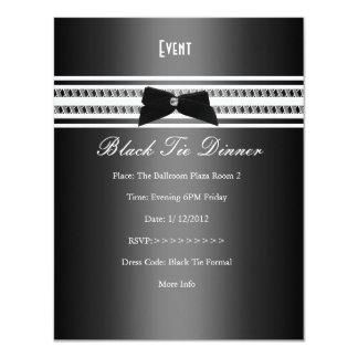 Dîner formel élégant 2 de gris argenté de cravate carton d'invitation 10,79 cm x 13,97 cm