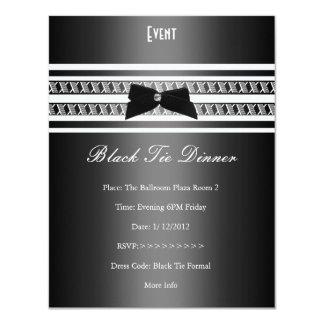Dîner formel élégant de gris argenté de cravate carton d'invitation 10,79 cm x 13,97 cm