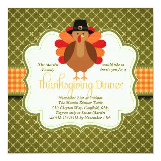 Dîner mignon rustique élégant de thanksgiving de carton d'invitation  13,33 cm