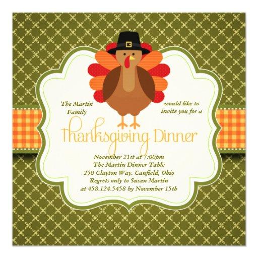 Dîner mignon rustique élégant de thanksgiving de l faire-part personnalisés