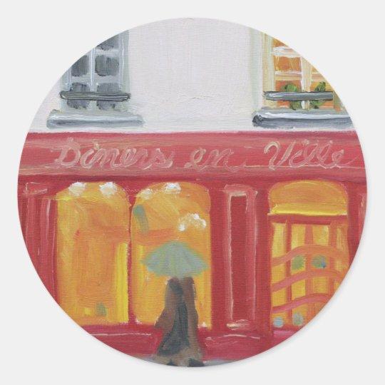 """Diners en Ville"" Classic Round Sticker"