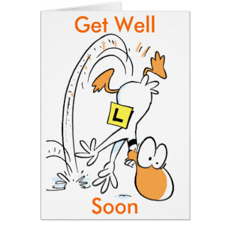 Ding Duck Cartoon Get Well Soon Card