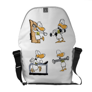 Ding Duck Gym Workout Cartoon Courier Bags