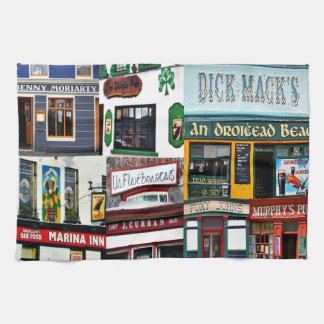 Dingle Pubs, Collage, Irish, Ireland, tea towel
