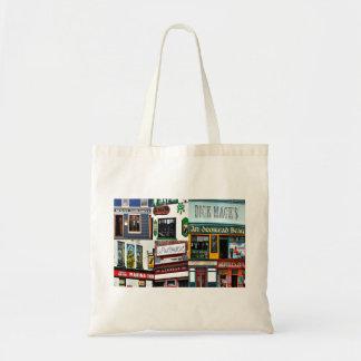 Dingle Pubs Collage, Irish Tote. Ireland, cotton Tote Bag