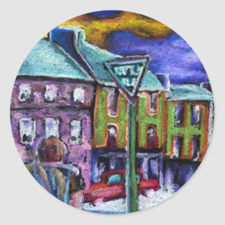 Dingle town at dusk classic round sticker