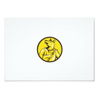 "Dingo Dog Welder Circle Retro 3.5"" X 5"" Invitation Card"