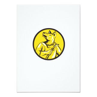 "Dingo Dog Welder Circle Retro 4.5"" X 6.25"" Invitation Card"