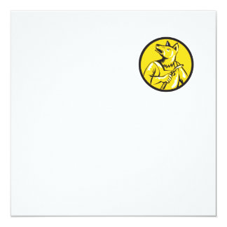 "Dingo Dog Welder Circle Retro 5.25"" Square Invitation Card"