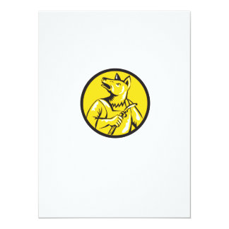 "Dingo Dog Welder Circle Retro 5.5"" X 7.5"" Invitation Card"