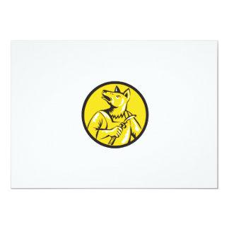 "Dingo Dog Welder Circle Retro 5"" X 7"" Invitation Card"