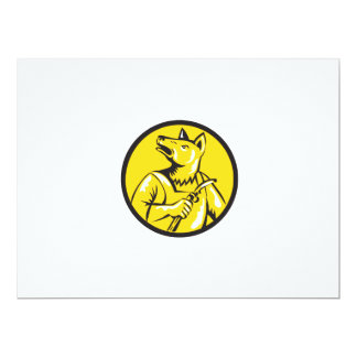 "Dingo Dog Welder Circle Retro 6.5"" X 8.75"" Invitation Card"