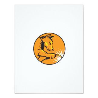"Dingo Dog Welding Circle Retro 4.25"" X 5.5"" Invitation Card"