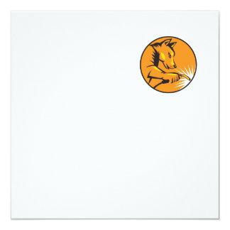 "Dingo Dog Welding Circle Retro 5.25"" Square Invitation Card"