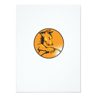 "Dingo Dog Welding Circle Retro 5.5"" X 7.5"" Invitation Card"