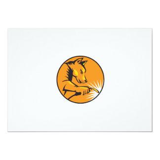 "Dingo Dog Welding Circle Retro 5"" X 7"" Invitation Card"